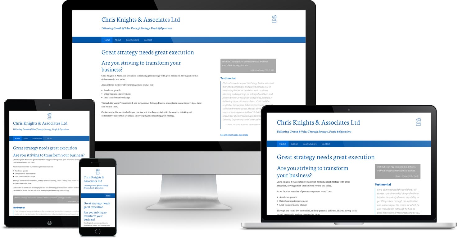 Chris Knights & Associates website viewed on a range of different devices