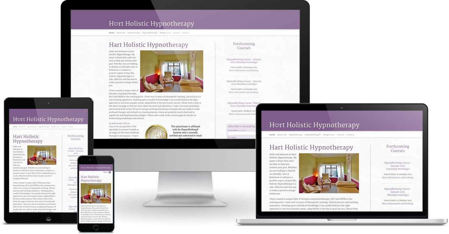 Hart Holistic Hypnotherapy website viewed on a range of different devices