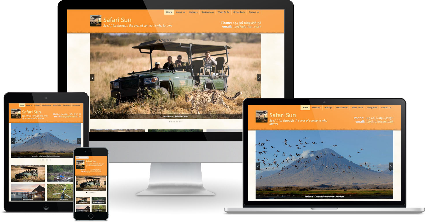 Safari Sun website viewed on a range of different devices
