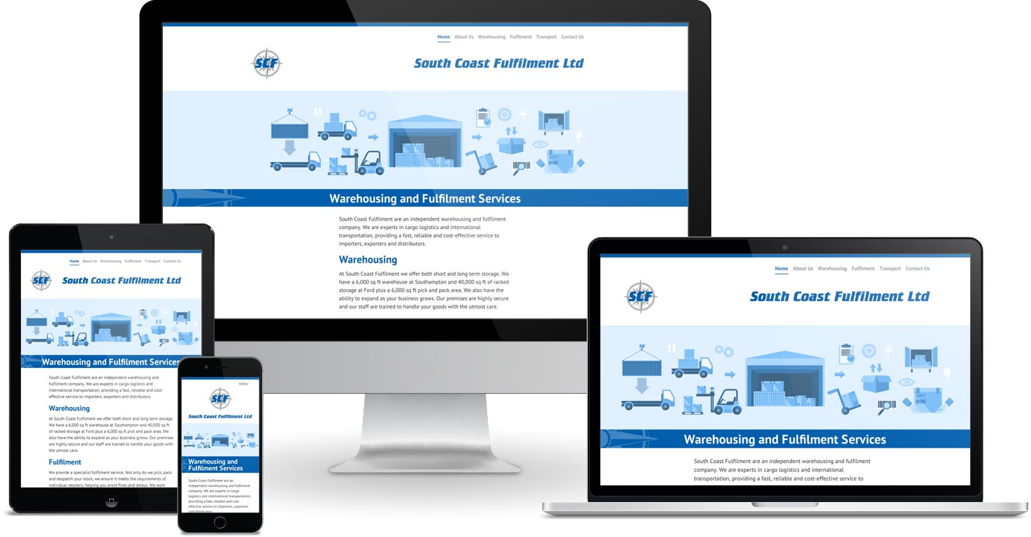 South Coast Fulfilment website viewed on a range of different devices